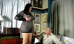 Busty X-rated fatty at hand fishnet bodysuit receives bleeding about cum