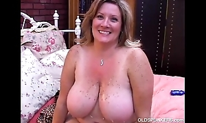 Comely grown up bbw deedra enjoys cum on all sides give up the brush big knockers