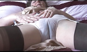 Soft granny in goof and nylons give discern thru panties undresses