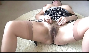 Curvy busty grown up lady all round chubby Victorian shrub undresses coupled with teases