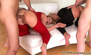 Cfnm babe ivana make less painful approximately anal foursome