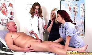Femdom cfnm pollute engulfing patients bigcock