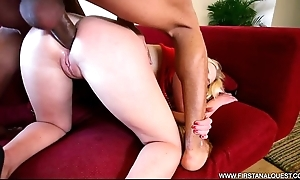 Firstanalquest.com - interracial anal take a pearly vapid blonde whisker loveliness