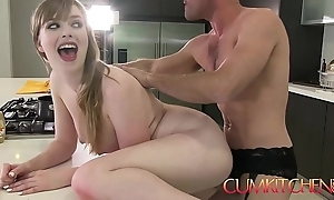 Cum kitchen: busty newborn dolly leigh cooks together with receives plowed by panty boy
