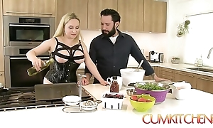 Cum kitchen: busty light-complexioned aiden starr fucks to the fullest extent a finally relative to the works relative to the kitchen