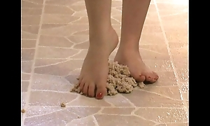 Starting-point charm - titillating feet stepping all over oatmeal