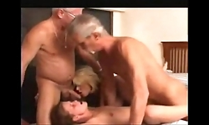 Granny become man increased by a juvenile doll wide a foursome