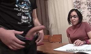 Amateur french schoolgirl enduring sodomized on touching cum alongside mouth on touching foyer