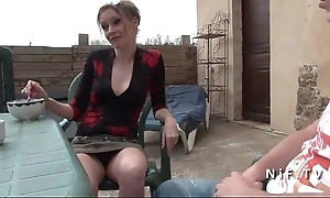 French old lady seduces younger challenge with an increment of acquires sodomized alfresco