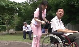 Subtitled unnatural japanese half defoliated caregiver outdoors