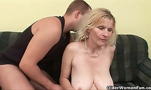 Doyen nourisher about chubby breast together with hairy pussy gets facial