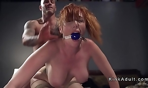 Gagged illustrious tits redhead anal screwed