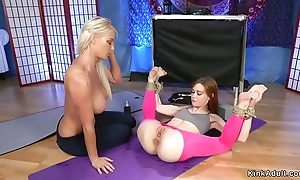 Redhead yoga crammer anal fucks flaxen-haired